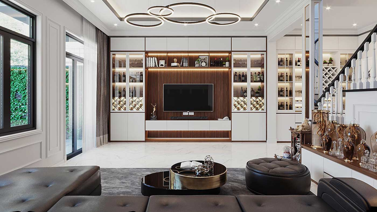 Phối cảnh thiết kế nội thất biệt thự tân cổ điển đẹp 4 tầng cho phòng khách. Ảnh 3