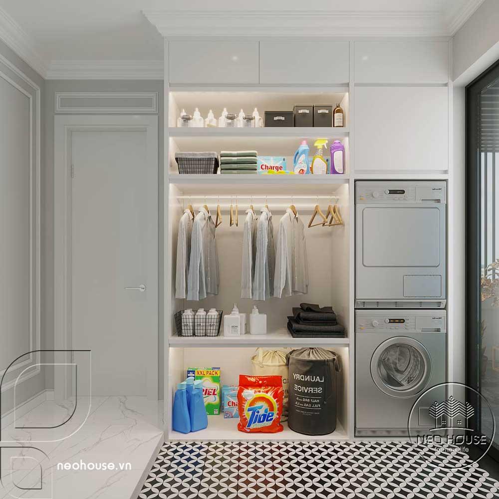 Phối cảnh thiết kế nội thất biệt thự tân cổ điển đẹp 4 tầng cho phòng giặt