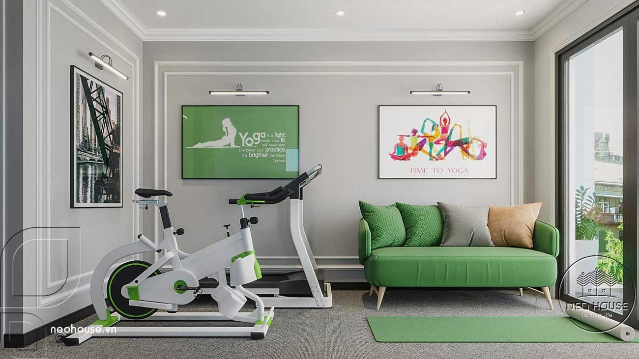 Phối cảnh thiết kế nội thất biệt thự tân cổ điển đẹp 4 tầng cho phòng gym