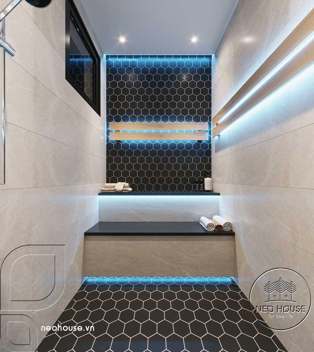 Phối cảnh thiết kế nội thất biệt thự tân cổ điển đẹp 4 tầng cho phòng xông hơi