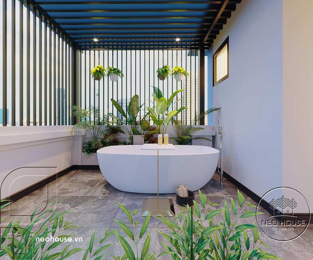 Phối cảnh thiết kế nội thất biệt thự tân cổ điển đẹp 4 tầng cho bồn tắm ngâm