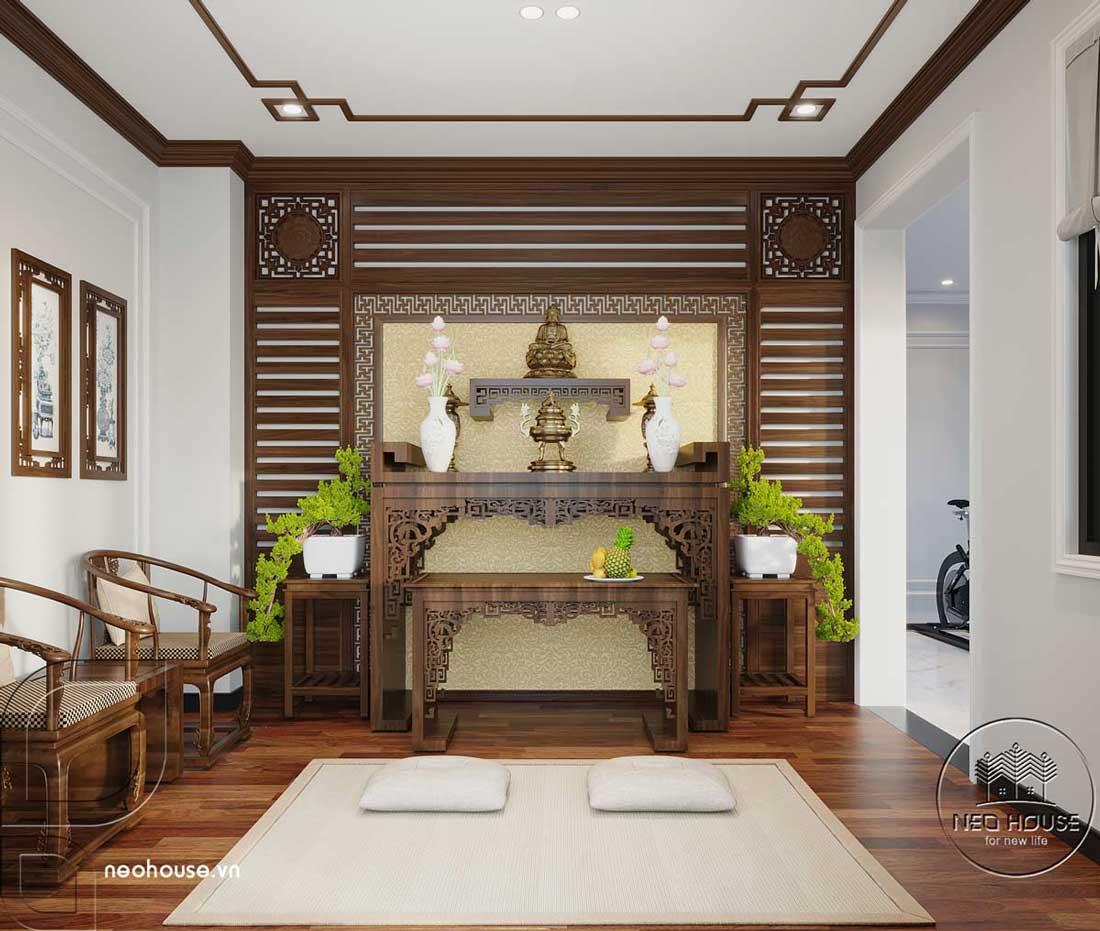 Thiết kế nội thất phòng thờ nhà biệt thự 4 tầng đẹp 7x15m tại Đà Nẵng