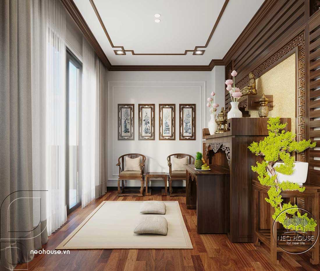 Phối cảnh thiết kế nội thất biệt thự tân cổ điển đẹp 4 tầng cho phòng thờ. Ảnh 2
