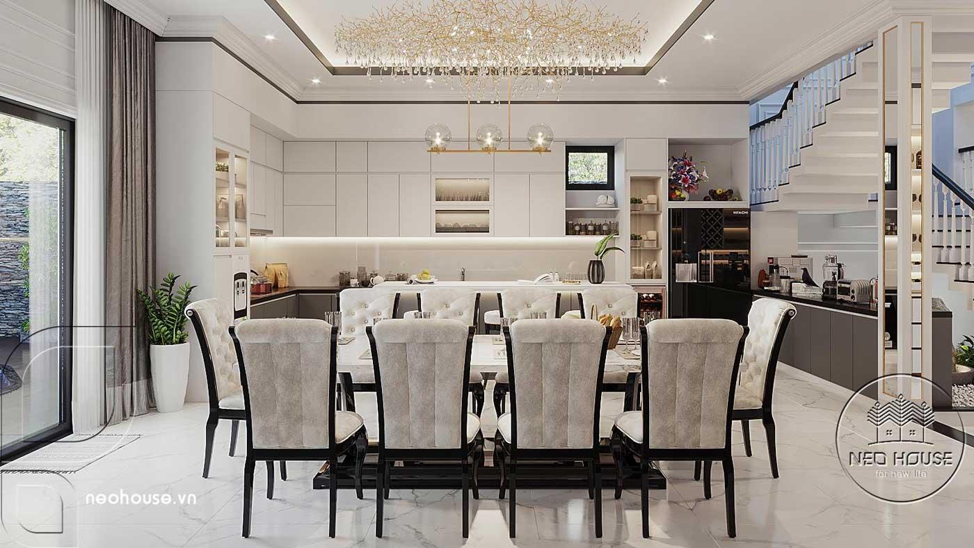 Phối cảnh thiết kế nội thất biệt thự tân cổ điển đẹp 4 tầng cho phòng ăn