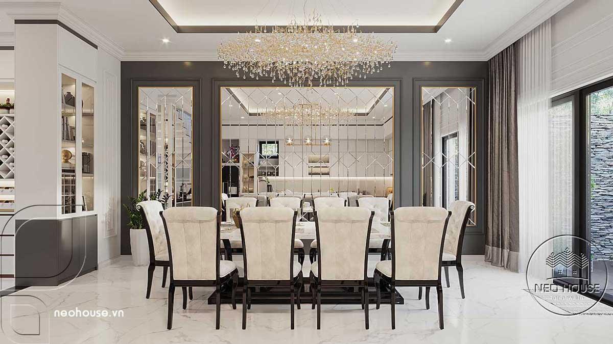 Thiết kế nội thất phòng ăn nhà biệt thự 4 tầng đẹp 7x15m tại Đà Nẵng