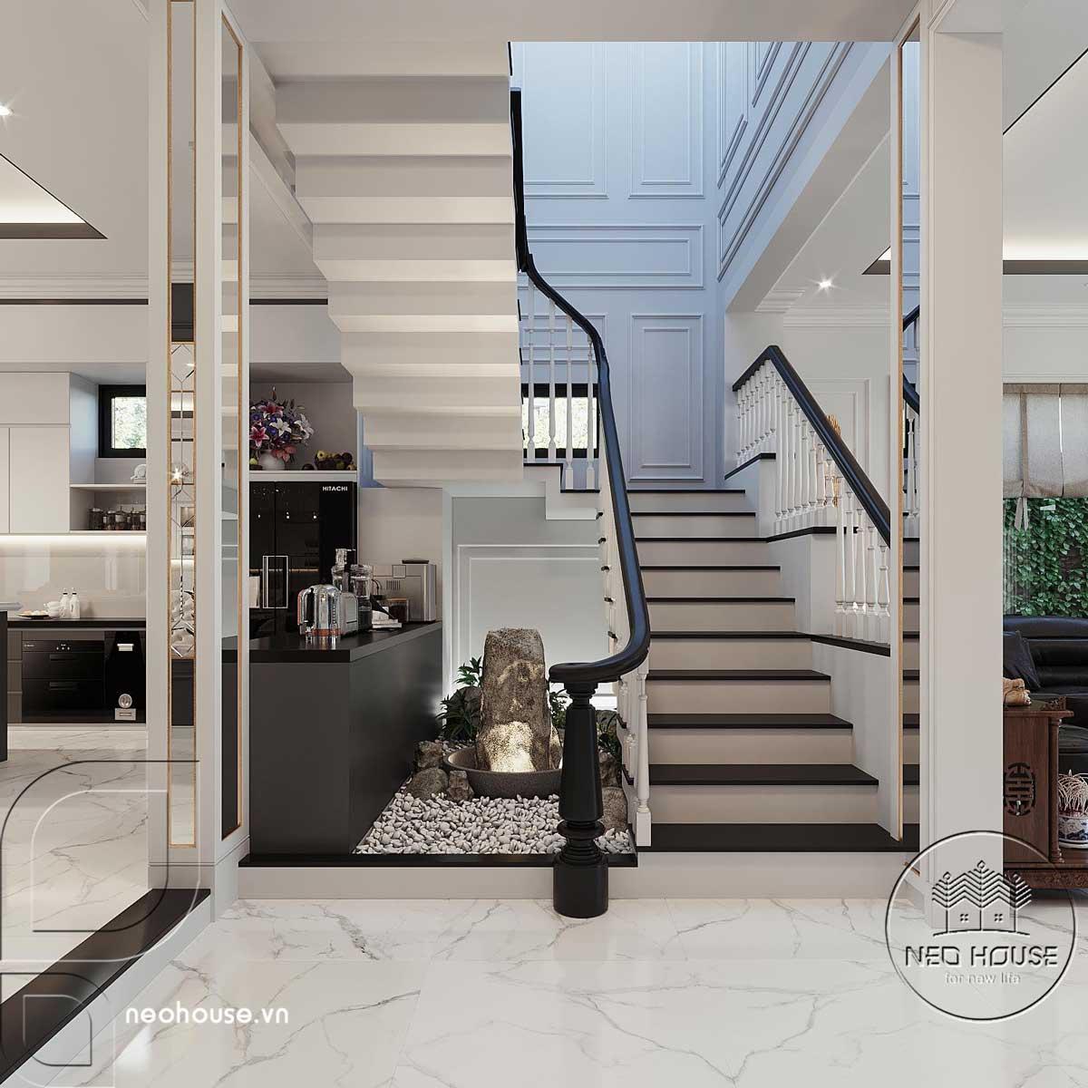 Phối cảnh thiết kế nội thất biệt thự tân cổ điển đẹp 4 tầng cho cầu thang thông tầng