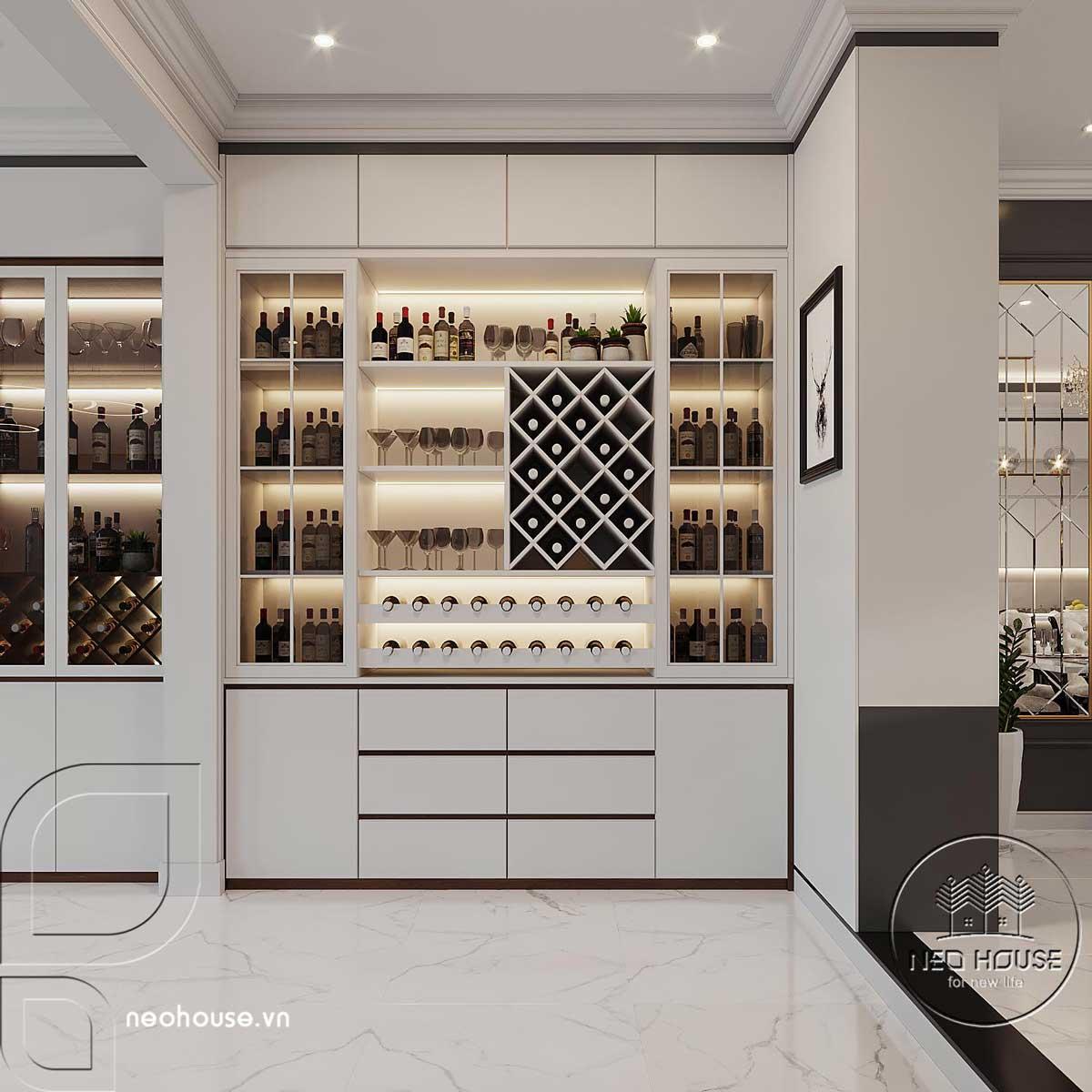 Phối cảnh thiết kế nội thất biệt thự tân cổ điển đẹp 4 tầng cho tủ trang trí