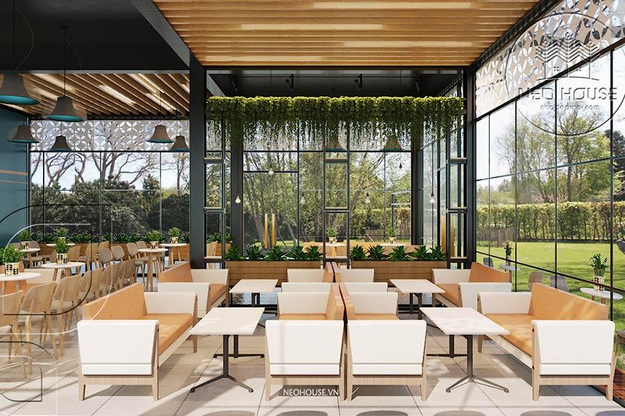 Thiết kế quán trà sữa sân vườn hiện đại. Ảnh bìa