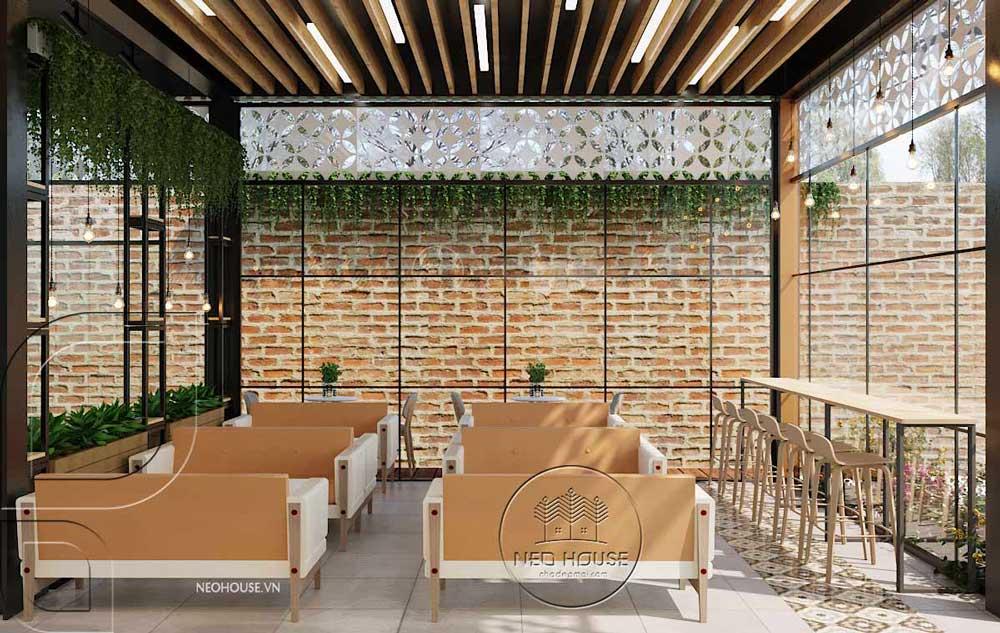 Thiết kế quán trà sữa sân vườn hiện đại. Ảnh 1