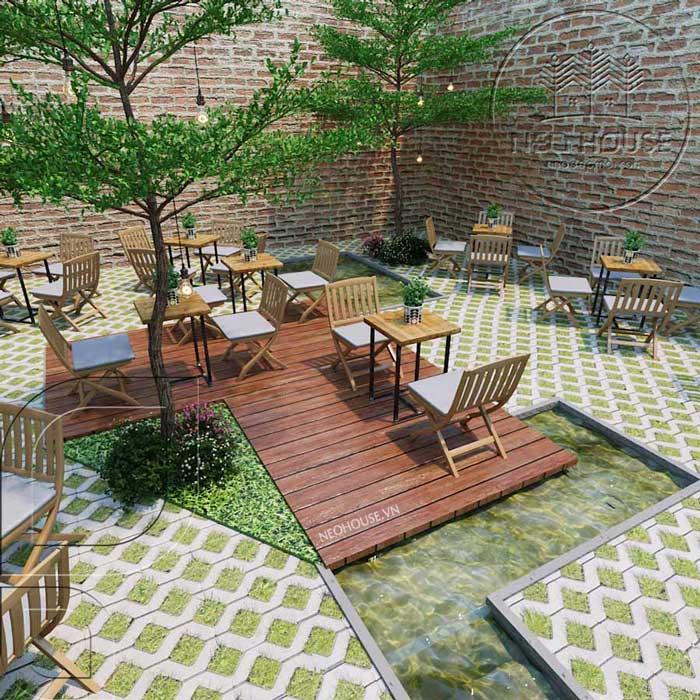 Thiết kế quán trà sữa sân vườn hiện đại. Ảnh 12
