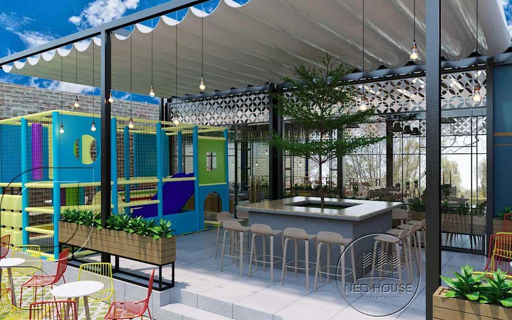 Thiết kế quán trà sữa sân vườn hiện đại. Ảnh 11