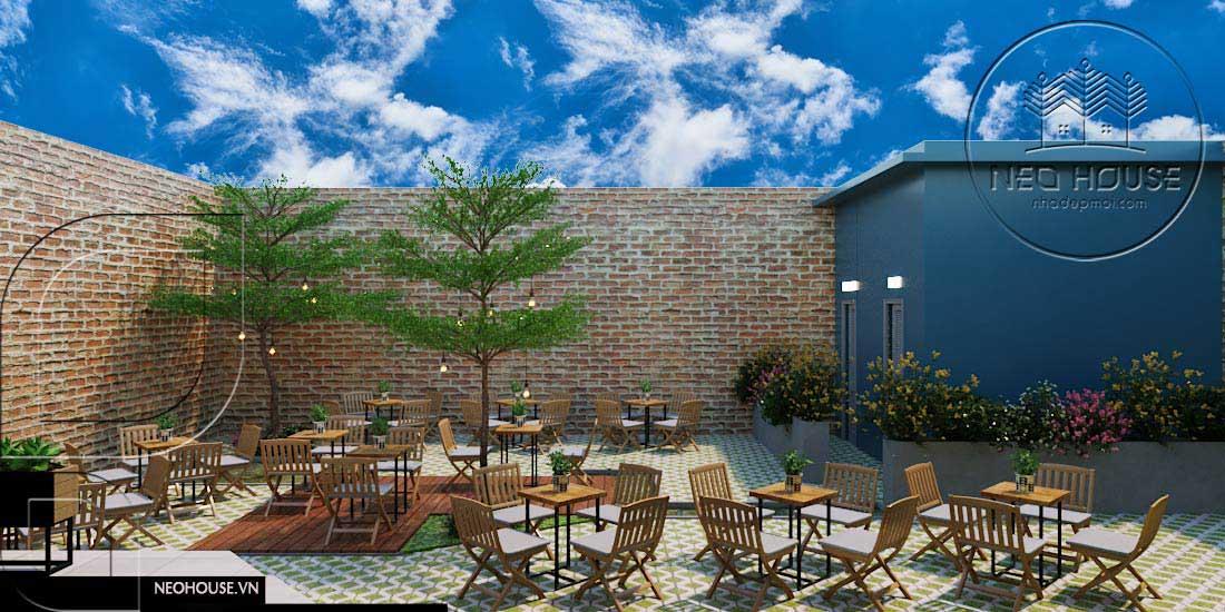 Thiết kế quán trà sữa sân vườn hiện đại. Ảnh 15