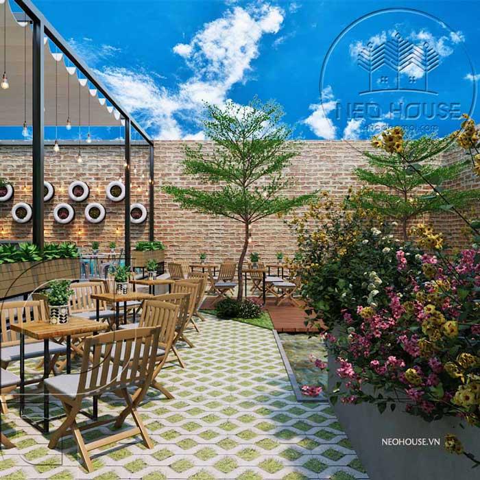 Thiết kế quán trà sữa sân vườn hiện đại. Ảnh 16