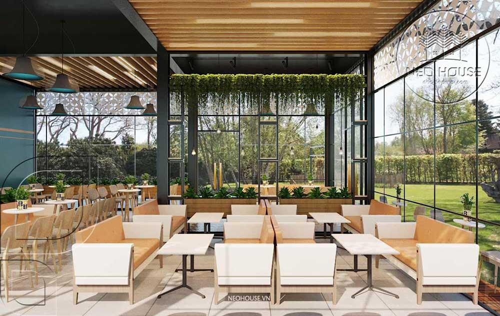 Thiết kế quán trà sữa sân vườn hiện đại. Ảnh 2