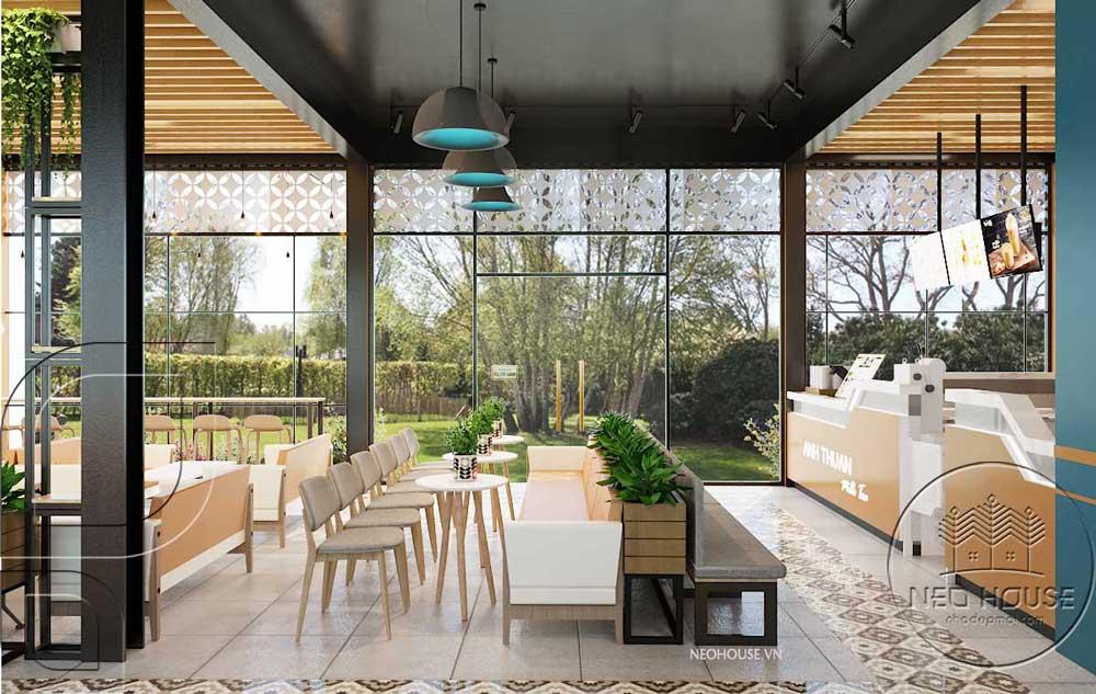 Thiết kế quán trà sữa sân vườn hiện đại. Ảnh 4