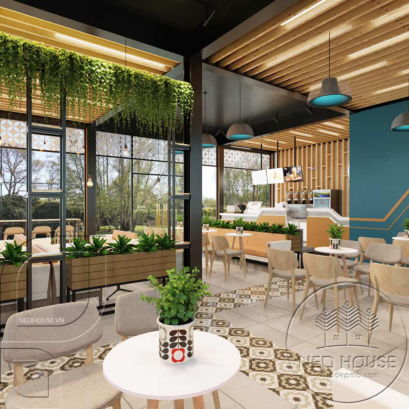 Thiết kế quán trà sữa sân vườn hiện đại. Ảnh 7