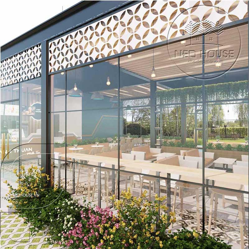 Thiết kế quán trà sữa sân vườn hiện đại. Ảnh 8