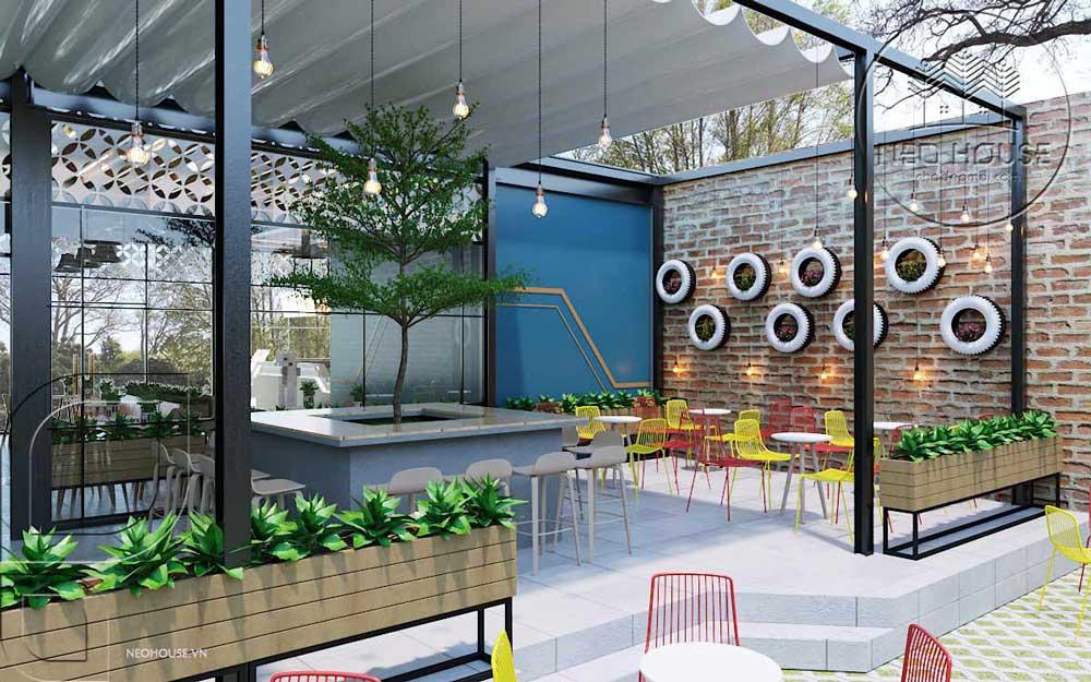 Thiết kế quán trà sữa sân vườn hiện đại. Ảnh 9