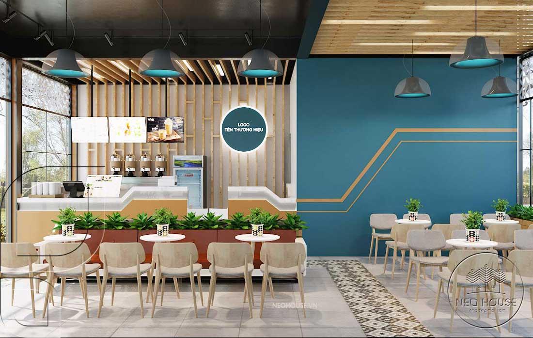 Thiết kế quán trà sữa sân vườn hiện đại quầy order. Ảnh 2