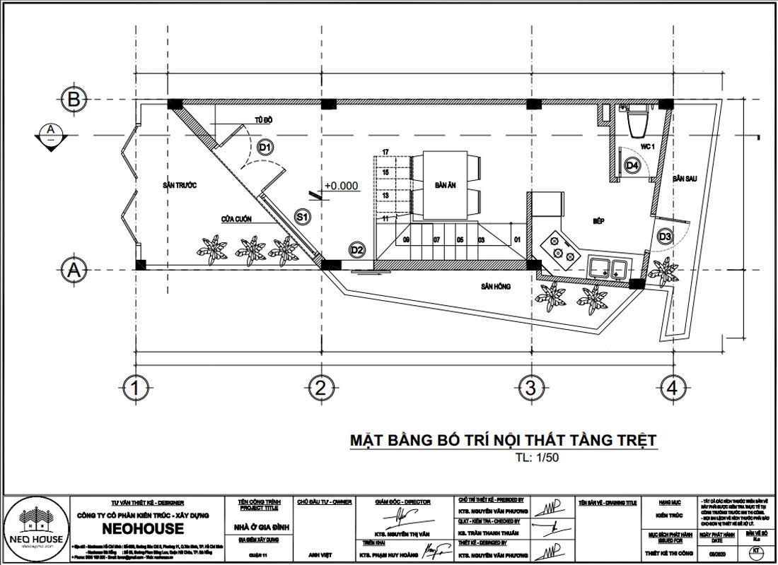 Mặt bằng công năng tầng trệt nhà phố vát góc 3 tầng 1 tum