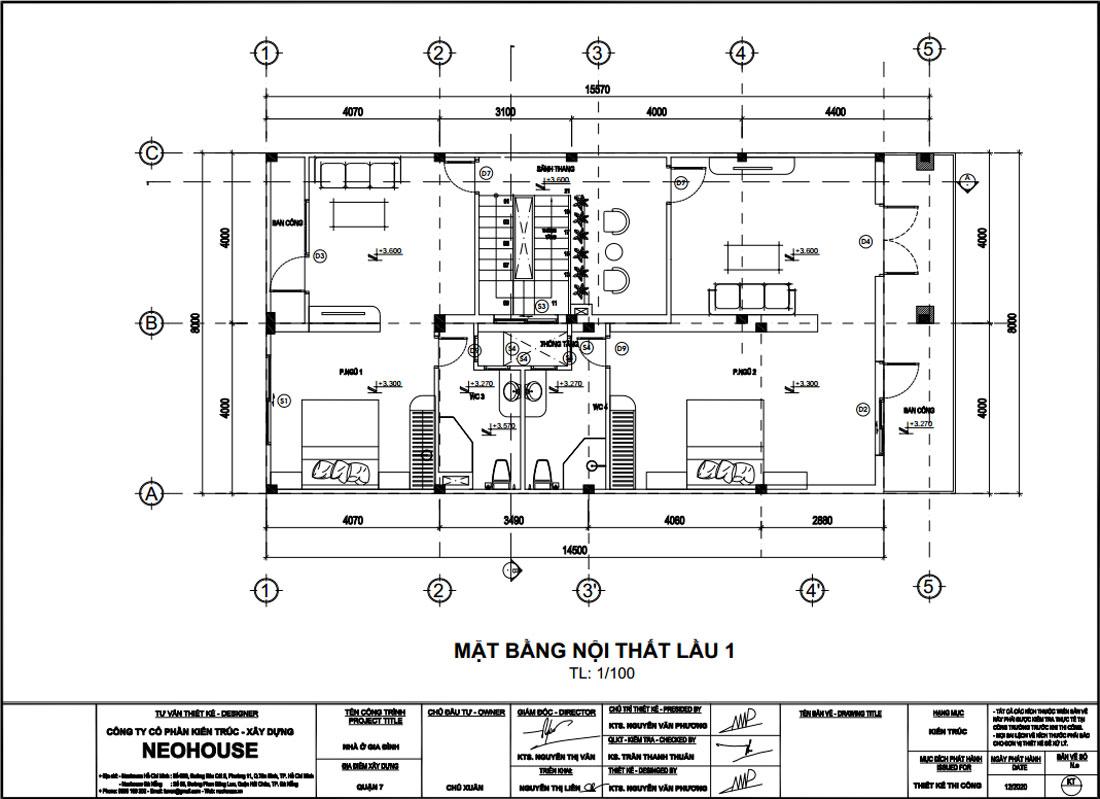 Mặt bằng công năng lầu 1 nhà phố 3 tầng tân cổ điển 8x15m tại Quận 7