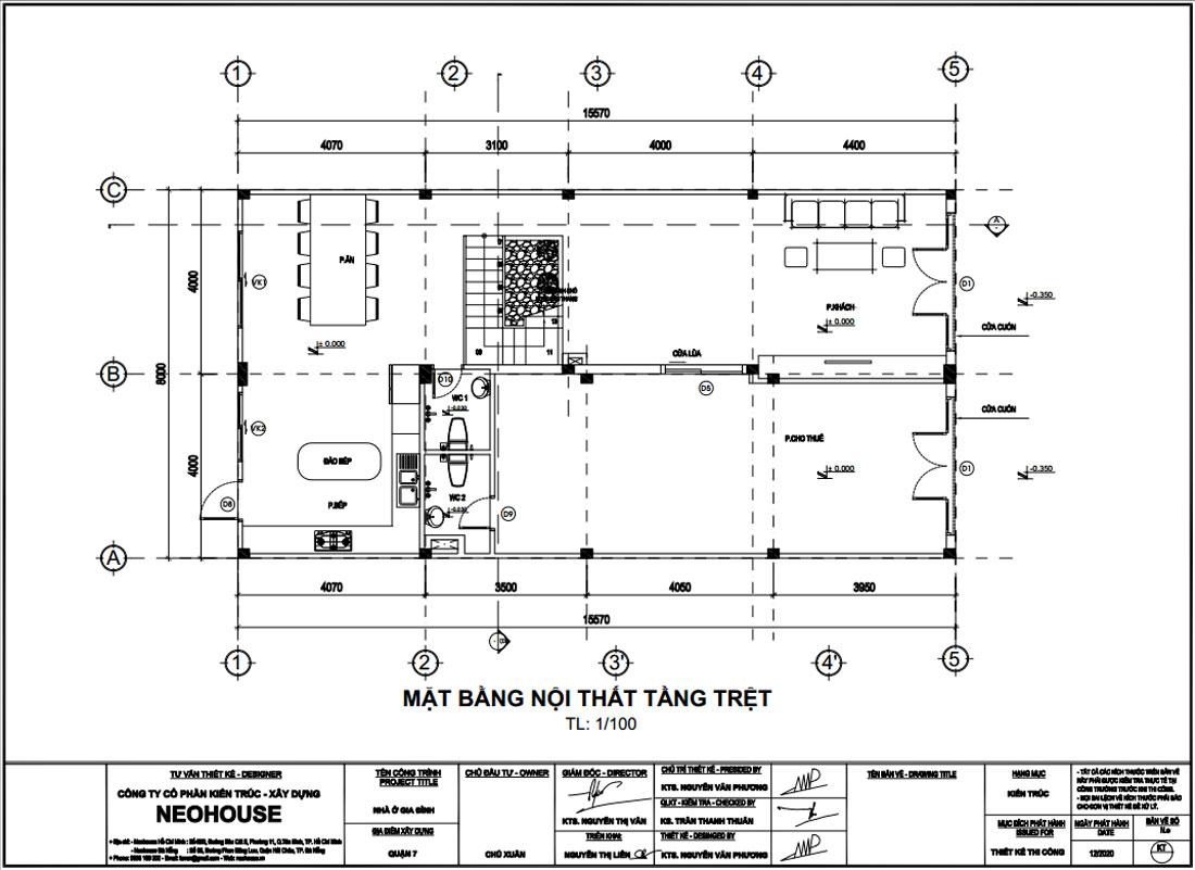 Mặt bằng công năng tầng trệt nhà phố 3 tầng tân cổ điển 8x15m tại Quận 7