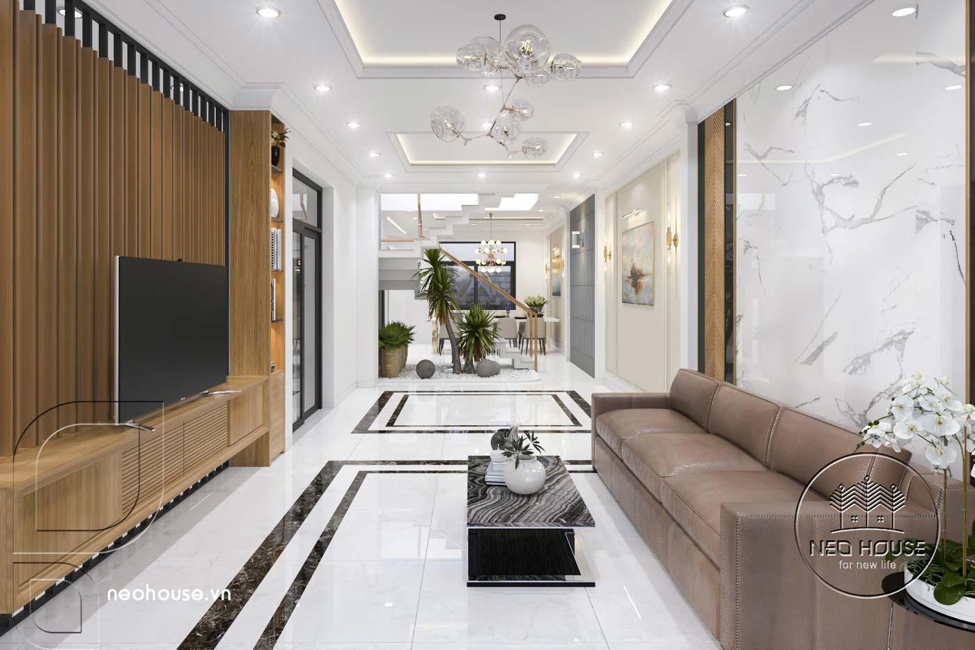 Thiết kế thi công cải tạo nhà phố 3 tầng với không gian nội thất phòng khách. Ảnh 1