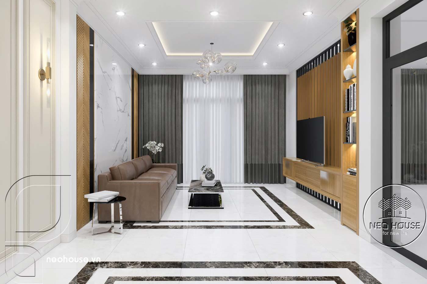 Thiết kế thi công cải tạo nhà phố 3 tầng với không gian nội thất phòng khách. Ảnh 2