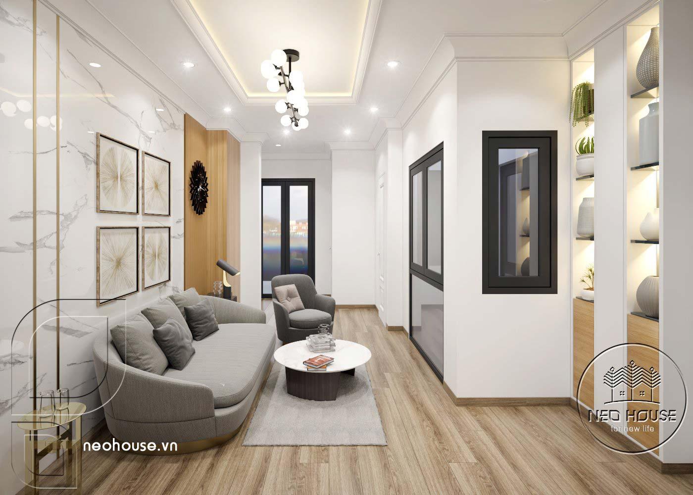 Thiết kế thi công cải tạo nhà phố 3 tầng với không gian nội thất phòng sinh hoạt chung. Ảnh 1