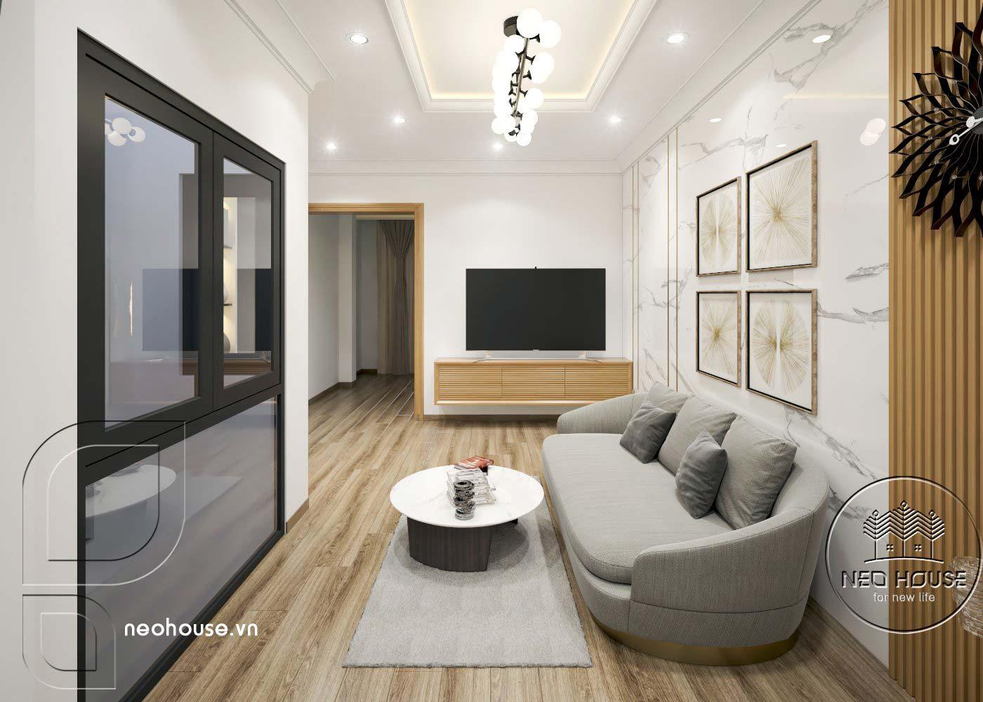 Thiết kế thi công cải tạo nhà phố 3 tầng với không gian nội thất phòng sinh hoạt chung. Ảnh 2
