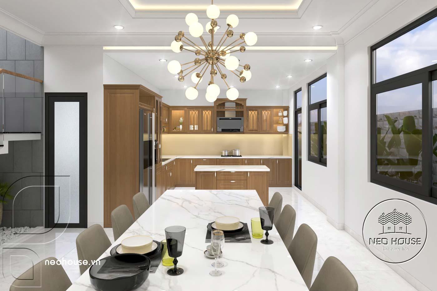 Thiết kế thi công cải tạo nhà phố 3 tầng với không gian nội thất phòng bếp + ăn. Ảnh 1