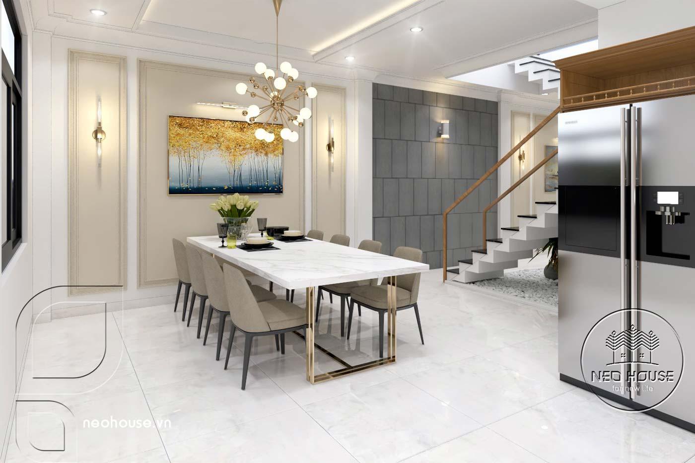 Thiết kế thi công cải tạo nhà phố 3 tầng với không gian nội thất phòng bếp + ăn. Ảnh 2