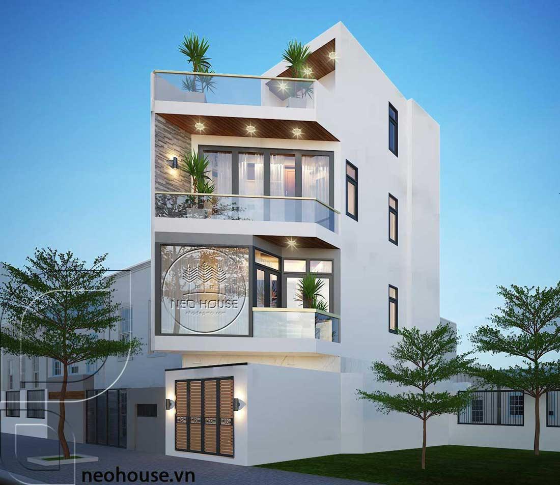 Thiết kế nhà phố vát góc 3 tầng 1 tum hiện đại. Ảnh 1