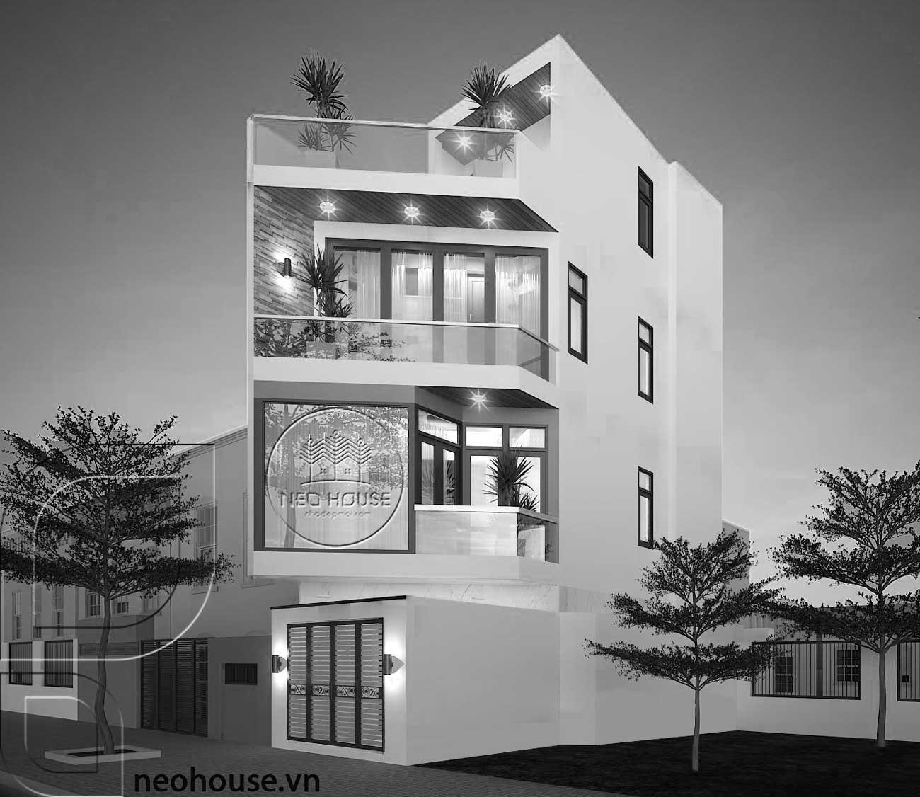 Thiết kế nhà phố vát góc 3 tầng 1 tum hiện đại. Ảnh 2