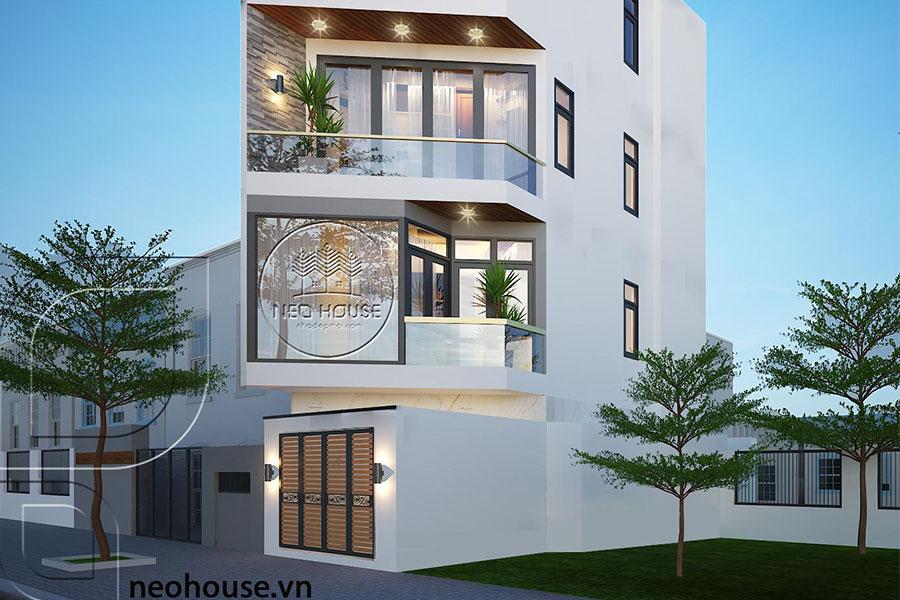 Thiết kế nhà phố vát góc 3 tầng 1 tum. Ảnh bìa