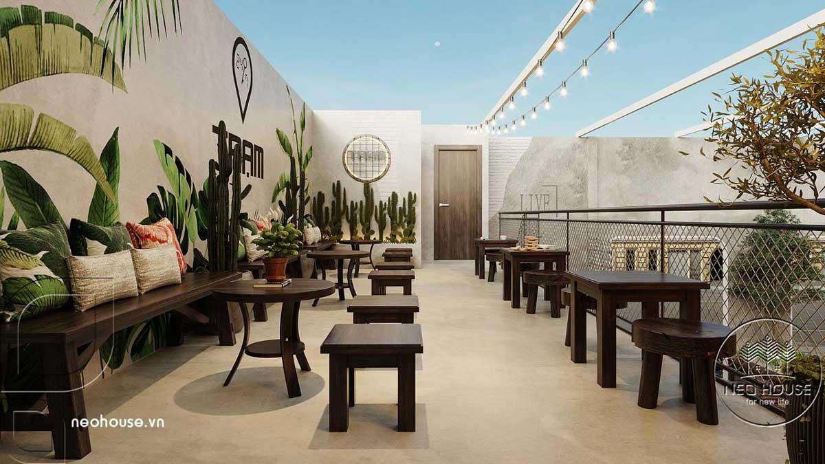 Thiết kế quán cafe sân vườn đơn giản. Ảnh 9