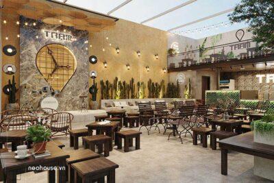 Thiết Kế Quán Cafe Sân Vườn Đơn Giản Mà Đẹp 10x13m Tại Gò Vấp – NT39