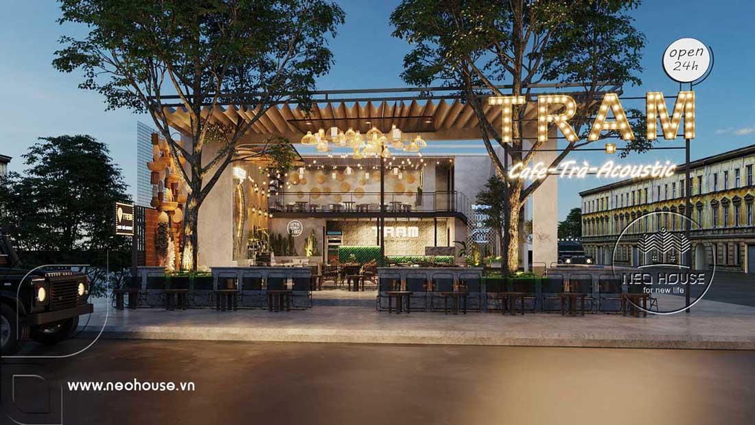 Thiết kế quán cafe sân vườn đơn giản. Ảnh 1