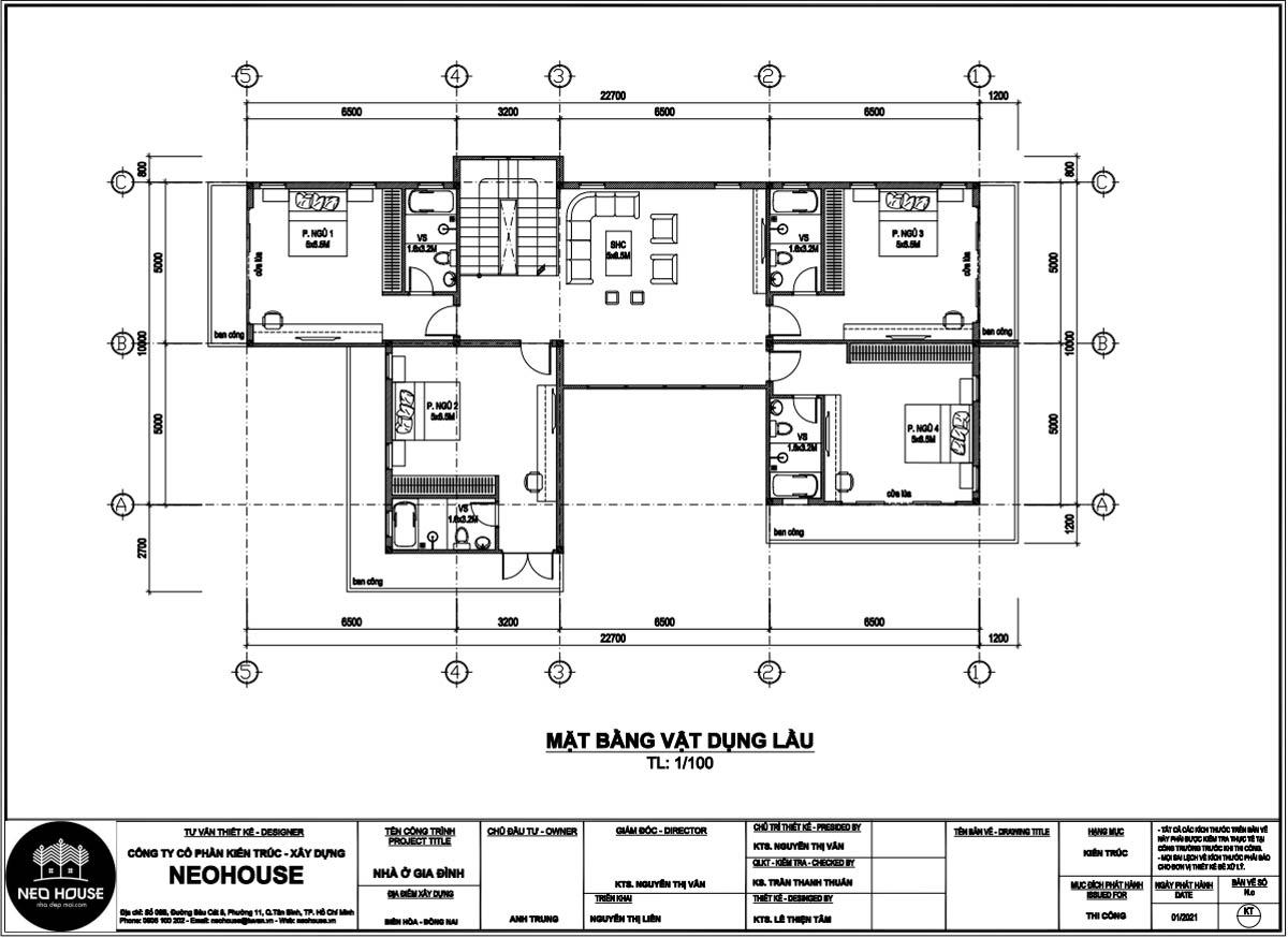 Mặt bằng lầu 1 mẫu nhà biệt thự 2 tầng mái thái