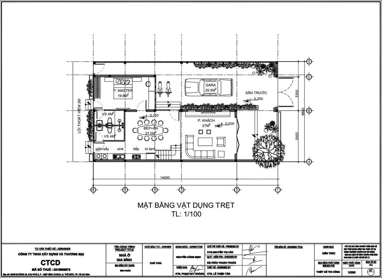 Mặt bằng công năng tầng trệt biệt thự 2 tầng 3 phòng ngủ