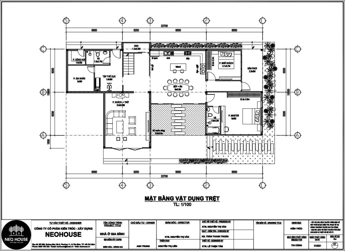 Mặt bằng tầng trệt mẫu nhà biệt thự 2 tầng mái thái