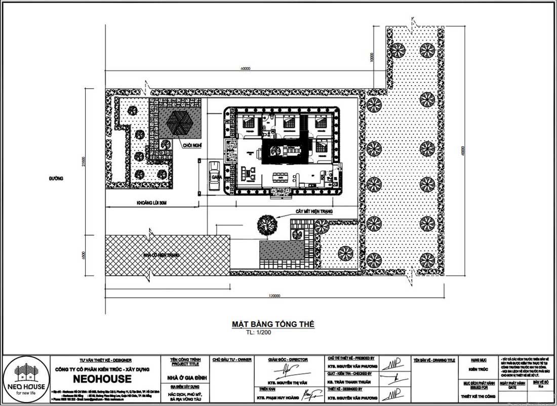 Mặt bằng công năng biệt thự mái thái 1 tầng hiện đại