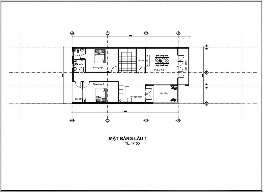 Mặt bằng lầu 1 thiết kế nhà ống 2 tầng 3 phòng ngủ 1 phòng ngủ