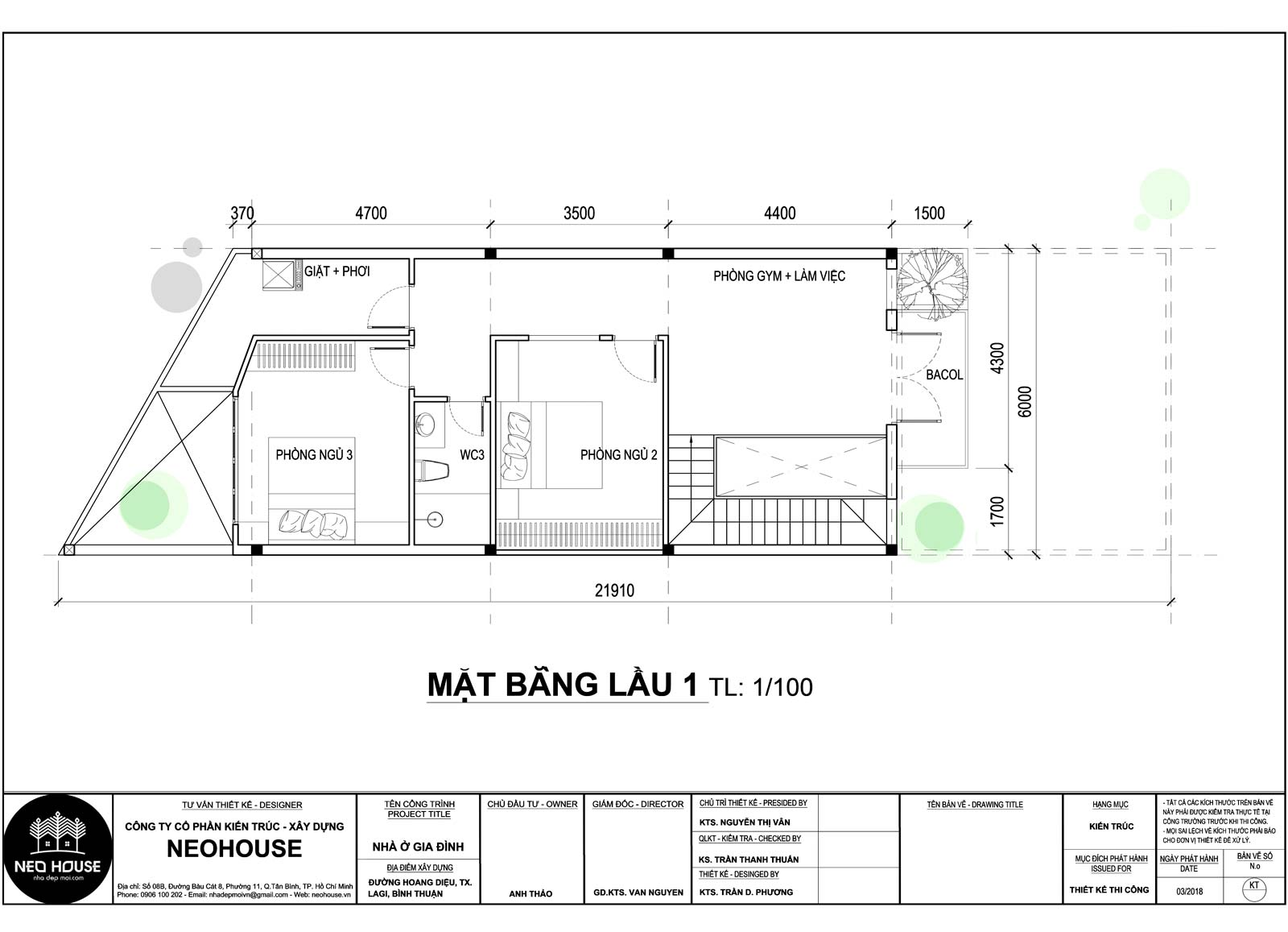 Mặt bằng lầu 1 nhà ống 2 tầng 3 phòng ngủ tại Bình Thuận