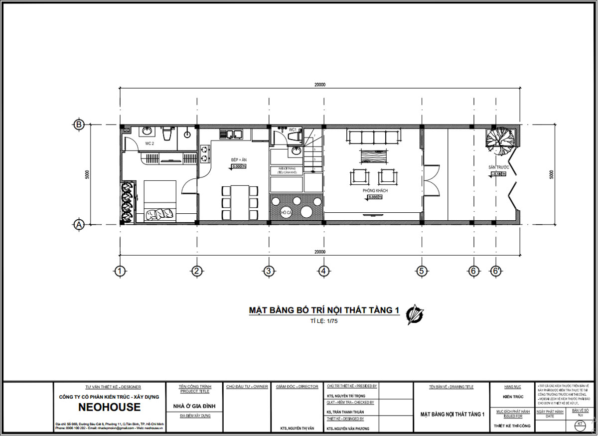 Mặt bằng tầng trệt nhà ống 2 tầng 3 phòng ngủ 4x7m