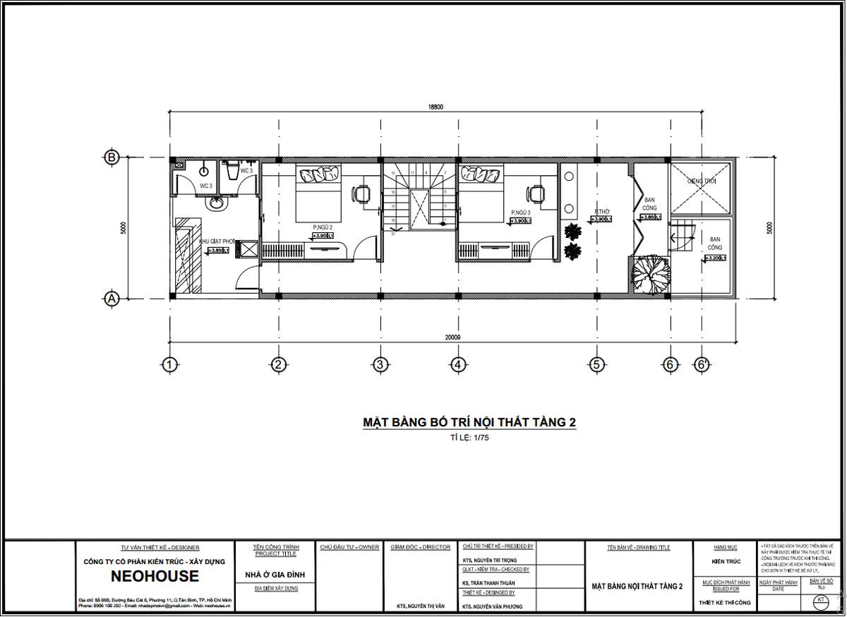Mặt bằng lầu 1 nhà ống 2 tầng 3 phòng ngủ 4x7m