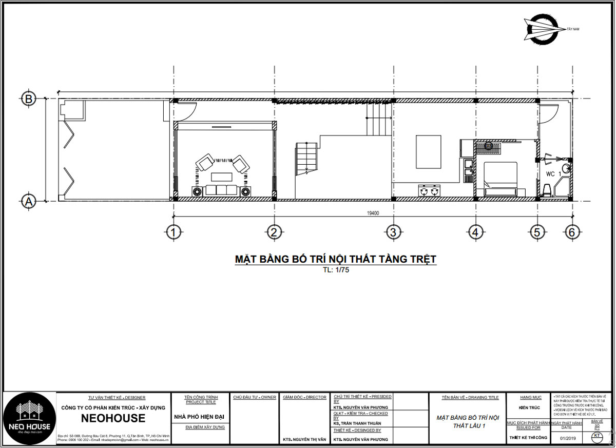 Mặt bằng tầng trệt mẫu nhà ống 2 tầng 3 phòng ngủ 5x20m