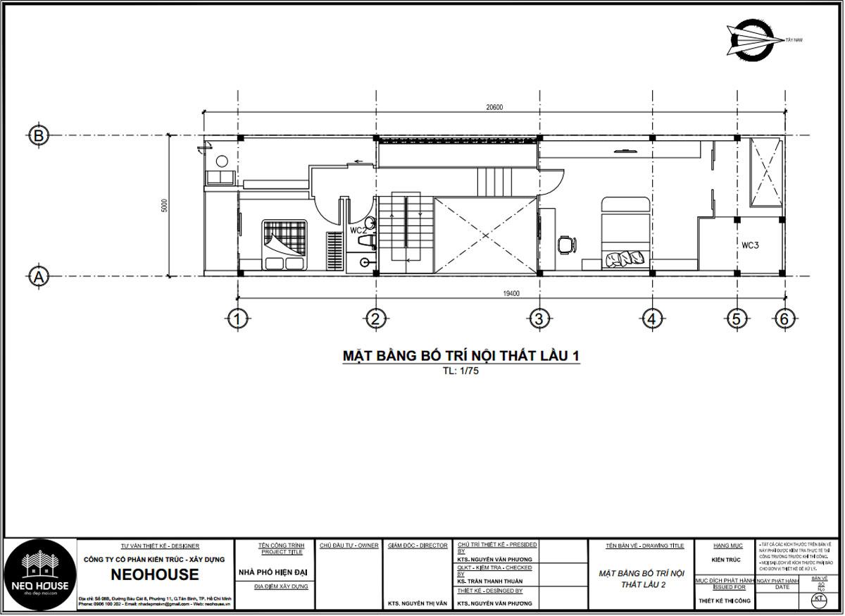 Mặt bằng lầu 1 mẫu nhà ống 2 tầng 3 phòng ngủ 5x20m