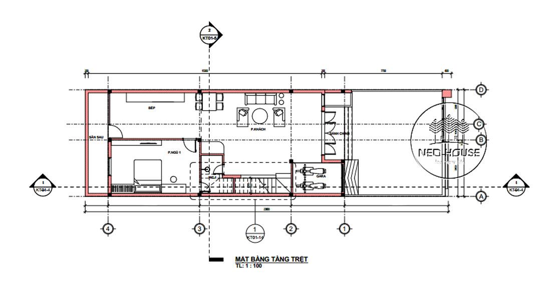 Mặt bằng tầng trệt bản vẽ thiết kế nhà ống 2 tầng 3 phòng ngủ