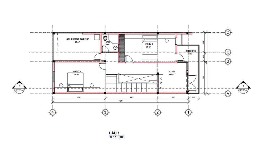 Mặt bằng lầu 1 bản vẽ thiết kế nhà ống 2 tầng 3 phòng ngủ